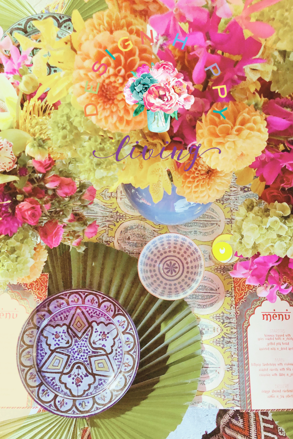 Tablescape with colorful flowers by Linda Holt