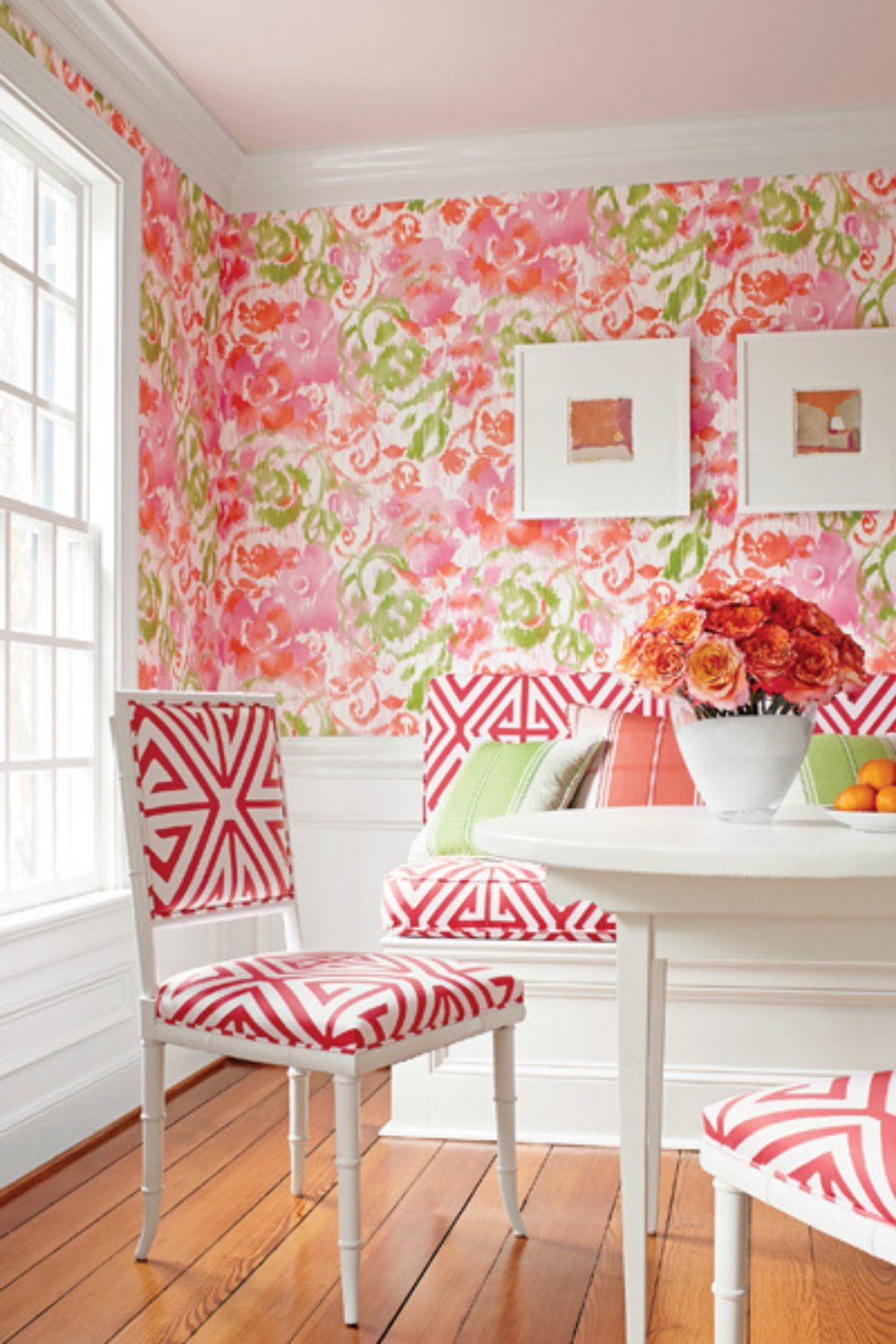 Thibaut's pretty pink wallpaper and fabric, Waterford pattern